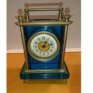 セイコー(SEIKO)の硝子枕   精工舎SEIKOSHAブルーウランガラス置き時計(置時計)