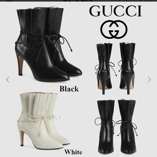 グッチ(Gucci)のGUCCI 革靴 レザーブーツ ブラック 黒 紐 GGマーク リボン ハイヒール(ハイヒール/パンプス)