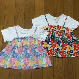 ニシマツヤ(西松屋)の90cm 女の子 Tシャツ トップス 2枚セット 花柄(Tシャツ/カットソー)