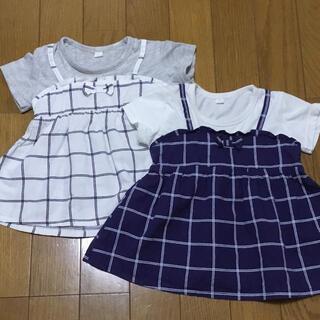 ニシマツヤ(西松屋)の90cm チュニック Tシャツ 2枚セット チェック柄(Tシャツ/カットソー)