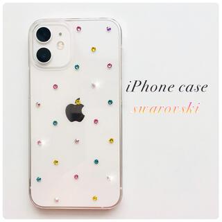 キラリと輝くスマホケース⭐︎..*スワロフスキー MIXカラー シンプル ドット(iPhoneケース)