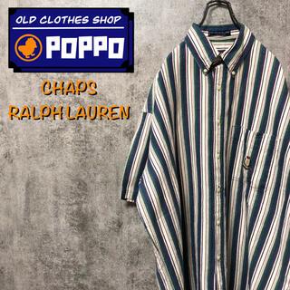 Ralph Lauren - チャップスラルフローレン☆刺繍ロゴ半袖コットンリネンマルチストライプシャツ