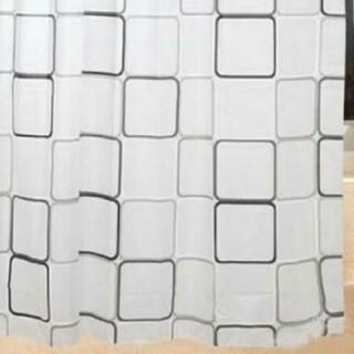 シャワーカーテン 防水防カビ加工 リング付属 白黒スクエア