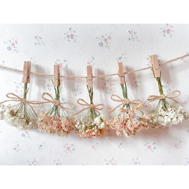 淡いバラとかすみ草のくすみオレンジドライフラワーガーランド♡スワッグ♡ミニブーケ ハンドメイドのフラワー/ガーデン(ドライフラワー)の商品写真