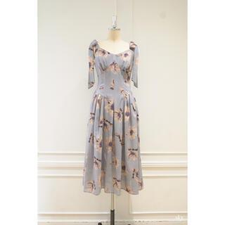 Her lip to Sunflower-printed Midi Dress