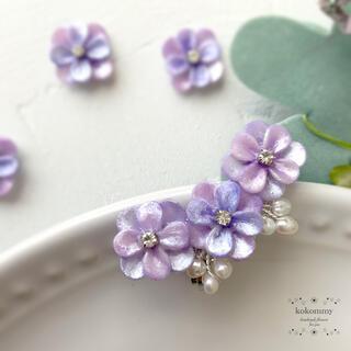 684期間限定&SALE 紫陽花と淡水パールの小枝のイヤーカフ  イヤークリップ