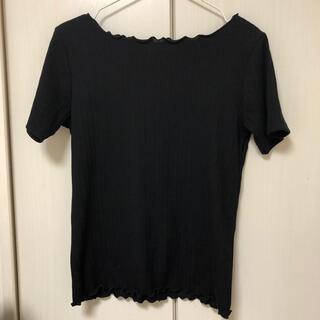 エニィスィス(anySiS)のフリルメローリブ カットソー/ブラック(Tシャツ(半袖/袖なし))
