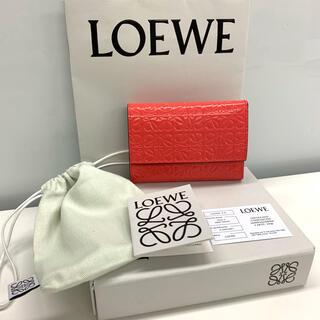 LOEWE - LOEWE ロエベ アナグラム柄 バーティカル ウォレット ミニ財布 三つ折 赤