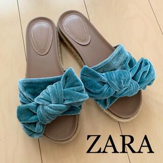 ZARA - ZARA ベロアリボンフラットサンダル