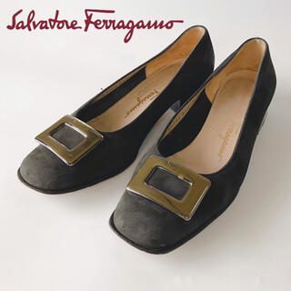 サルヴァトーレフェラガモ(Salvatore Ferragamo)のサルヴァトーレフェラガモ パンプスヒール3cm スウェード 黒ブラックレディース(ハイヒール/パンプス)