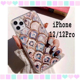 大理石 タイル風 モロッカン グリッター ケース iPhone12/12Pro(iPhoneケース)