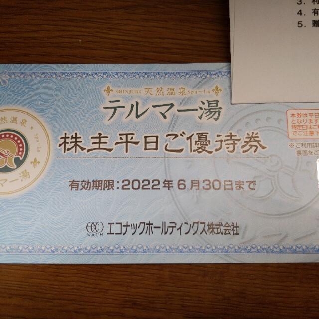 エコナック 株主優待 1枚 テルマー湯 平日ご優待券 チケットの優待券/割引券(その他)の商品写真