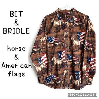 ラルフローレン(Ralph Lauren)のBIT & BRIDLE 馬 星条旗 総柄 柄シャツ アメリカ 国旗 長袖シャツ(シャツ)
