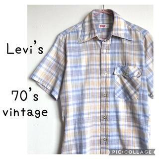リーバイス(Levi's)の70年代 Levi's 半袖 チェックシャツ 70s リーバイス デカ襟(シャツ)