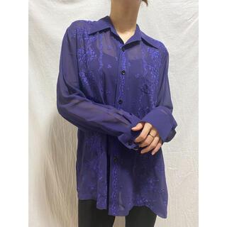 ビューティアンドユースユナイテッドアローズ(BEAUTY&YOUTH UNITED ARROWS)のシャツ 古着 刺繍 シースルー ブルー パープル(シャツ/ブラウス(長袖/七分))
