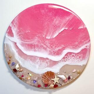 絵画 ハンドメイド レジン 波 一点物 ピンクラグーン 貝殻  ローズクオーツ