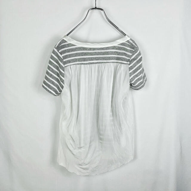 sacai luck(サカイラック)のsacai luck 異素材ボーダー Tシャツ Sサイズ1 カットソー 白グレー レディースのトップス(Tシャツ(半袖/袖なし))の商品写真