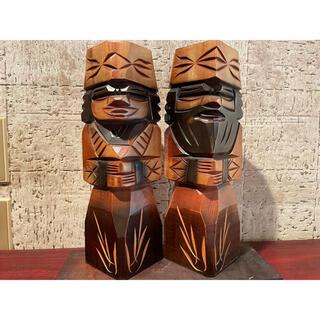 アイヌの置物 アイヌ 木彫り 人 昭和レトロ アイヌ 木彫り 木彫(彫刻/オブジェ)