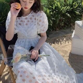 ZARA - 透かし柄 パフスリーブ ワンピース 【2color・2size】