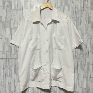 COMME des GARCONS - 【60s】キューバシャツ 古着 刺繍 ビッグサイズ  ホワイト オープンカラー