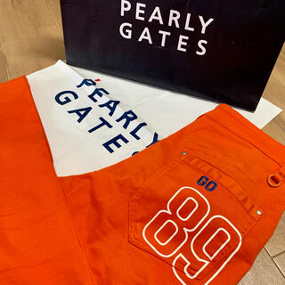 PEARLY GATES - パーリーゲイツ バックプリント オレンジ パンツ ゴルフウェア サイズ5