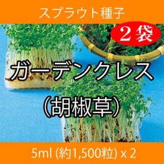 スプラウト種子 S-09 ガーデンクレス(胡椒草) 5ml約1500粒 x 2袋(野菜)