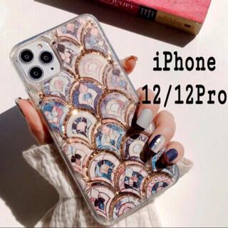 大理石 タイル風 モロッカン グリッター ケース iPhone12/12Pro (iPhoneケース)