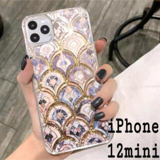 大理石 タイル風 モロッカン グリッター ケース iPhone12mini (iPhoneケース)
