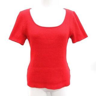 フォクシー(FOXEY)のフォクシー ニット セーター ラウンドネック 半袖 リブ カシミヤ 40 M 赤(ニット/セーター)