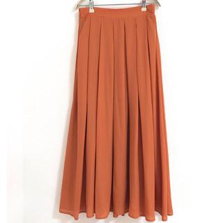 アルシーヴ(archives)のアルシーヴ 上品♡ロングスカート フレアー ボックスプリーツ オレンジ(ロングスカート)