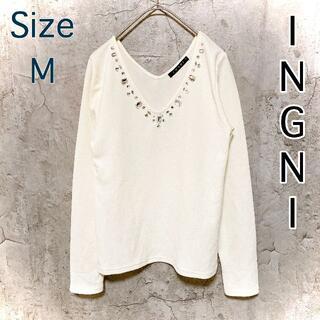 イング(INGNI)の❤️新品同様❤️ イング INGNI 長袖 薄手 首元キレイ♪ クリーム M(Tシャツ(長袖/七分))