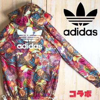 アディダス(adidas)のadidas アディダス ナイロン ジャケット パーカー 全身 花柄 美品(ナイロンジャケット)
