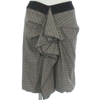 マックスアンドコー(Max & Co.)のマックス&コー バルーン スカート チェック フリル ひざ丈 膝丈 茶 38(ひざ丈スカート)