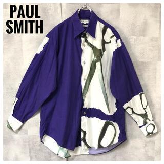 Paul Smith - 美品⭐️Paul Smith イタリア生地 ハサミ 総柄 パープル 長袖シャツ