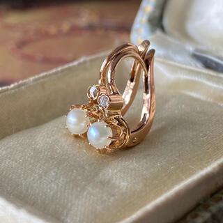 フランス アンティークピアス 天然真珠 天然ダイヤモンド 鷲の頭の刻印 18金