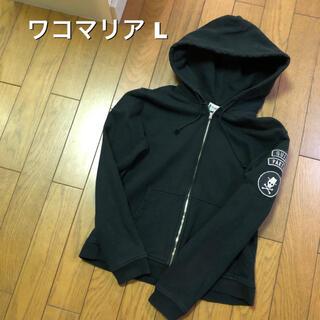 WACKO MARIA - Lサイズ!日本製 ワコマリア 古着ジップアップスウェットパーカー 黒 パッチ×2