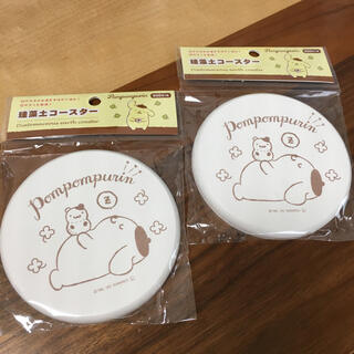 ポムポムプリン(ポムポムプリン)の新品未使用☆珪藻土コースター☆ポムポムプリン☆サンリオ☆珪そう土☆コースター☆(テーブル用品)