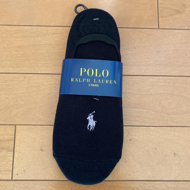 POLO RALPH LAUREN(ポロラルフローレン)の新品 ラルフローレン 靴下 ソックス フットカバー 黒 3足 メンズのレッグウェア(ソックス)の商品写真