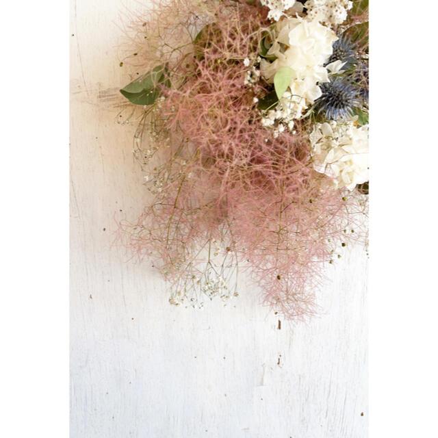 〜スモークツリーとホワイトあじさいの爽やかなアンティークスワッグ○ドライフラワー ハンドメイドのフラワー/ガーデン(ドライフラワー)の商品写真