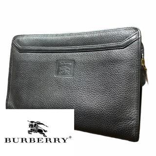 バーバリー(BURBERRY)の【Burberry】バーバリーズ ブラック レザー クラッチバッグ ノバチェック(クラッチバッグ)