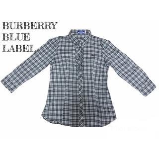 バーバリーブルーレーベル(BURBERRY BLUE LABEL)の【美品】バーバリー ブルーレーベル 7部袖丈シャツ  チェック柄  黒 白 茶(シャツ/ブラウス(長袖/七分))