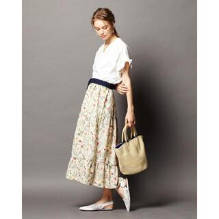 オリーブデオリーブ(OLIVEdesOLIVE)のOLIVE des OLIVE  サッシュベルト付花柄ティアードスカート(ロングスカート)