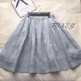 FOXEY - 美品♡ フォクシー FOXEY リネン100% スカート アイスブルー 40