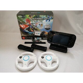 ウィーユー(Wii U)のWiiU マリオカート8セット 2人ですぐに遊べる追加リモコン・ハンドル付き(家庭用ゲーム機本体)