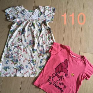 ラグマート(RAG MART)のラグマート♡花柄ワンピース 110   & ユニクロTシャツのおまけ付(ワンピース)