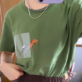 Graniph - 男女兼用【graniph】恐竜 グリーン プリントTシャツ
