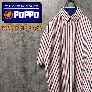 TOMMY HILFIGER - トミーヒルフィガー☆フラッグ刺繍ロゴ半袖トリコロールストライプシャツ 90s
