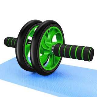 腹筋ローラー マット付き 静音 緑 グリーン 【046】(トレーニング用品)