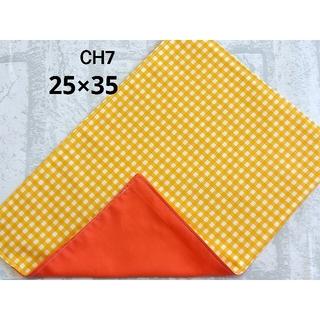 CH7 ランチョンマット チェック柄 オレンジ 裏地 濃橙色 ナフキン(外出用品)