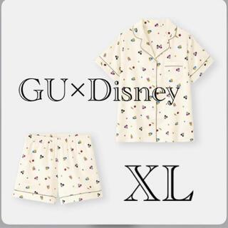 GU - GU サテンパジャマ ディズニー ミッキー 半袖 短パン 夏 サマー 白色 XL